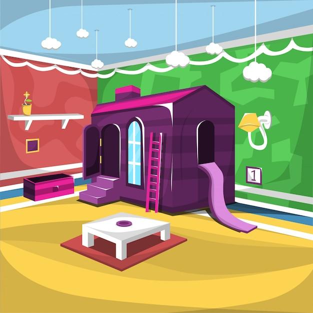 Kinderspielzimmer mit großem hausspielzeug und leiter, Premium Vektoren