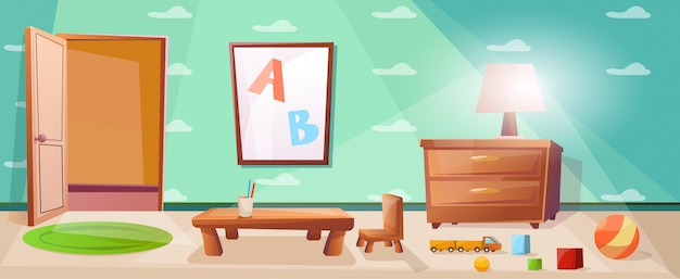 Kinderspielzimmer mit spielen, spielzeug, abc und nachttisch mit lampe Premium Vektoren