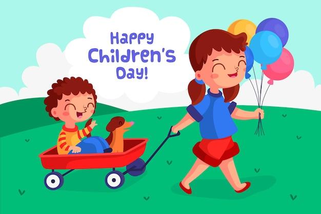 Kindertag im flachen design Kostenlosen Vektoren