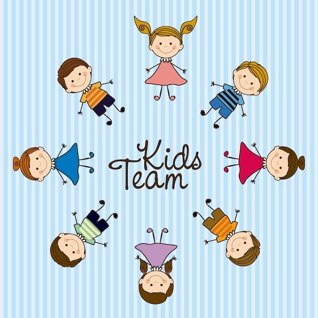 Kinderteam Premium Vektoren