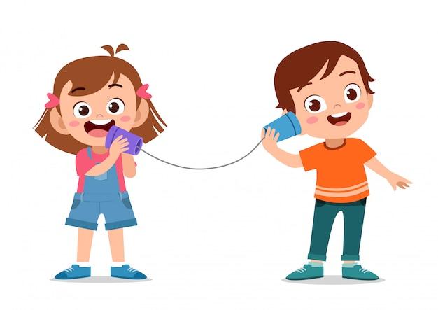 Kindertelefonspielzeug mit dose Premium Vektoren