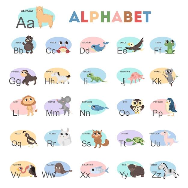 Kindertieralphabet mit bunten illustrationen. yak und geier, bär und kaninchen. Premium Vektoren