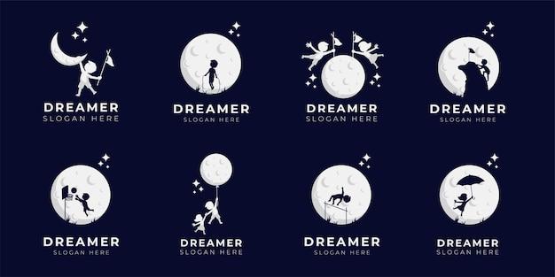 Kindertraum logo design illustration sammlung - träumer logo Premium Vektoren
