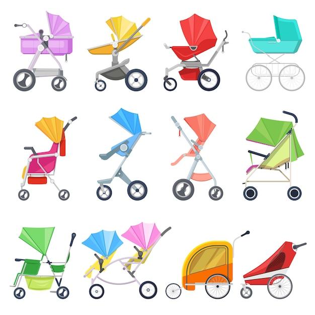 Kinderwagen kinderwagen oder kinderwagen und kinderwagen für kinder oder kinderwagen illustration set babywagen für neugeborene mit rad und griff auf weißem hintergrund Premium Vektoren