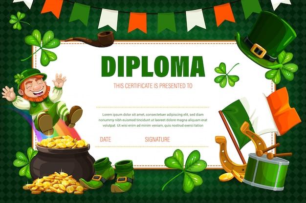 Kinderzertifikat, diplom mit irischem kobold Premium Vektoren