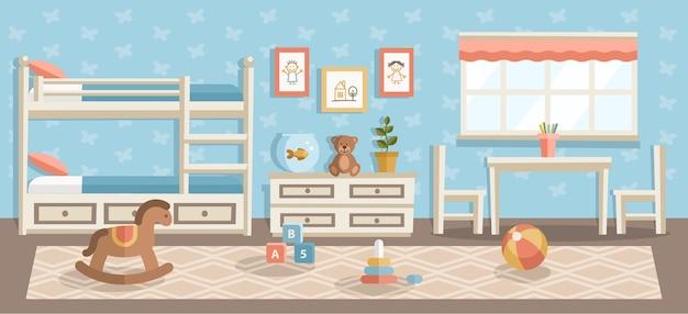 Kinderzimmer flache illustration, kinderzimmer, kindergarten moderne innenarchitektur, wasserball, pyramide kinderspielzeug im schlafzimmer, kinderzeichnungen hängen an der blauen wand und beige teppich auf holzboden Premium Vektoren