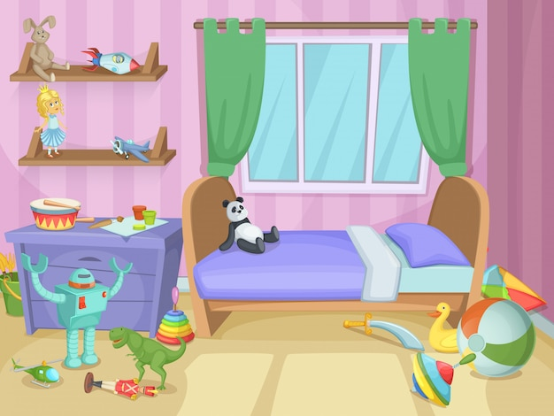 Kinderzimmer mit lustigen spielsachen auf dem boden Premium Vektoren