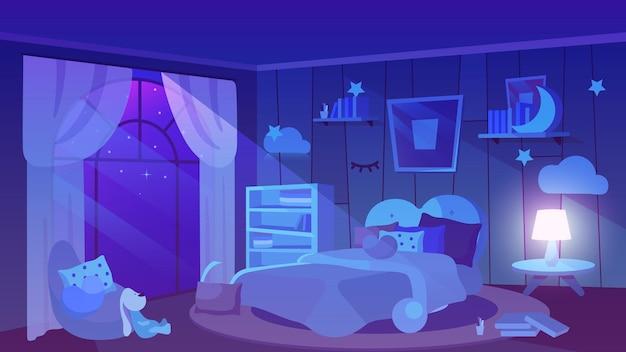 Kinderzimmer nachtansicht wohnung. stofftier, bücher und kissen auf dem boden. Premium Vektoren