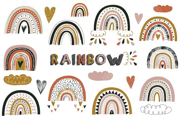 Kinderzimmer niedliche boho regenbogenelemente Premium Vektoren