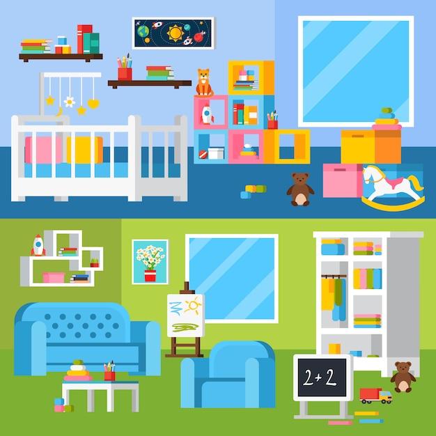 Kinderzimmer-raum-karikatur-horizontale fahnen Kostenlosen Vektoren