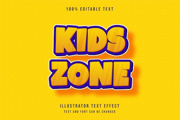 Kinderzone, 3d bearbeitbarer texteffekt moderner gelber orange text-comic-stil Premium Vektoren