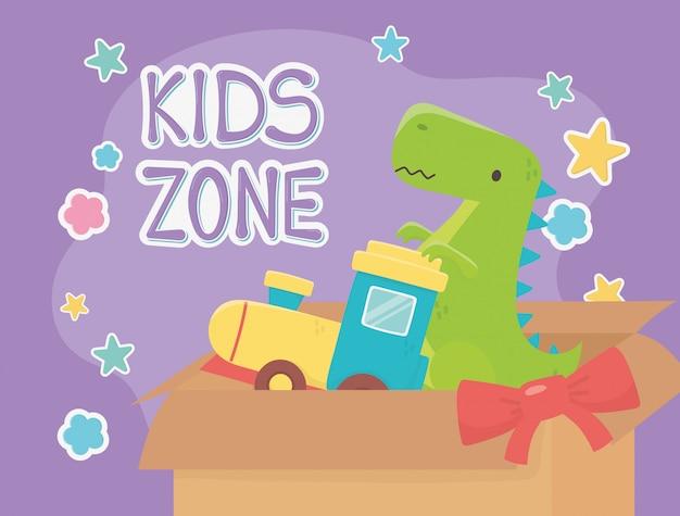 Kinderzone, gefüllter güterzug und grünes dinosaurierspielzeug Premium Vektoren