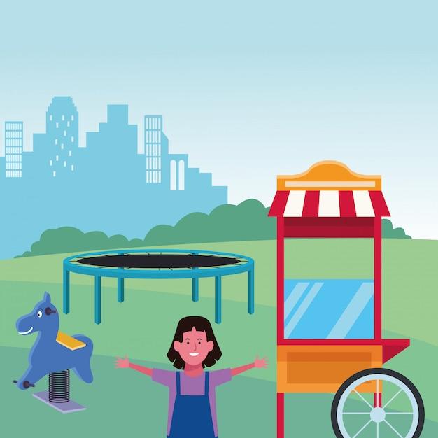 Kinderzone, nettes mädchen mit trampolinfrühlingspferd und lebensmittelstandspielplatz Premium Vektoren
