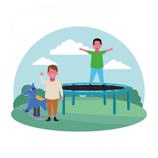 Kinderzone, süße jungs springen trampolin und springpferdespielplatz Premium Vektoren