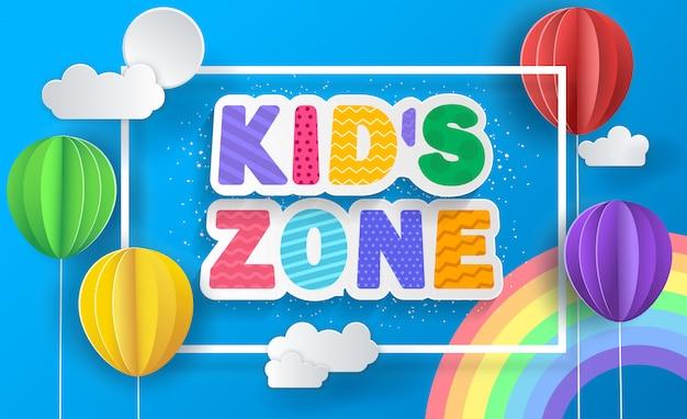 Kinderzonen-konzeptplakat. papierballons. Premium Vektoren