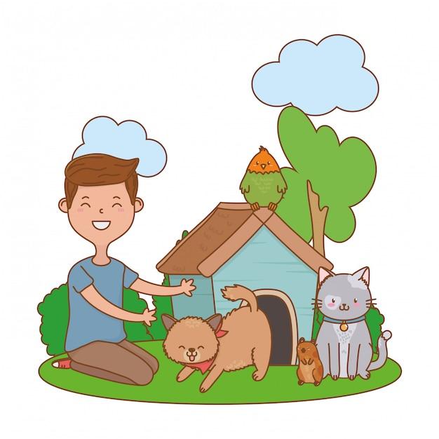 Kindheit glückliches kind cartoon Premium Vektoren