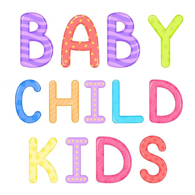 Kindisch schriftzug baby kind kinder vektorgrafiken Premium Vektoren