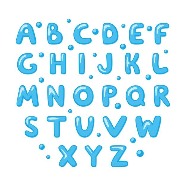 Kindisch süßes englisches alphabet. Premium Vektoren