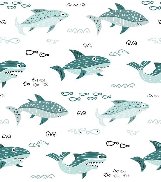 Kindisches nahtloses muster mit nettem karikaturhaifisch Premium Vektoren