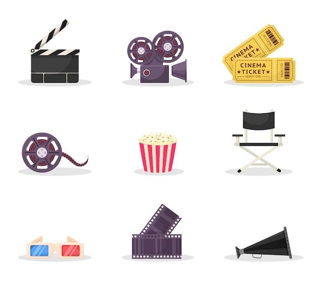 Kinematographie artikel illustrationen gesetzt. filmregie, filmemachen. kinokarte, brille. filmstreifen, tonband, regiestuhl cliparts. klassischer filmklöppel, lautsprecher, kamera Premium Vektoren