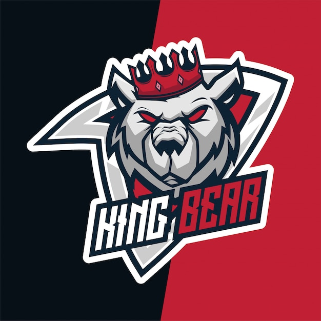 King bear ultimate e-sport maskottchen logo Premium Vektoren