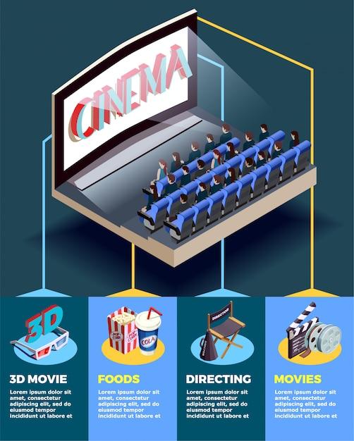 Kino-auditorium isometrische infografiken Kostenlosen Vektoren
