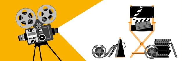 Kino banner retro film projektor streifen film Premium Vektoren