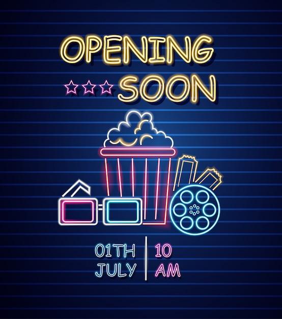 Kino eröffnung leuchtreklame Premium Vektoren