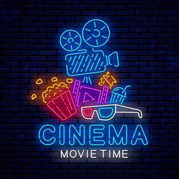 Kino helle leuchtreklame design. Premium Vektoren
