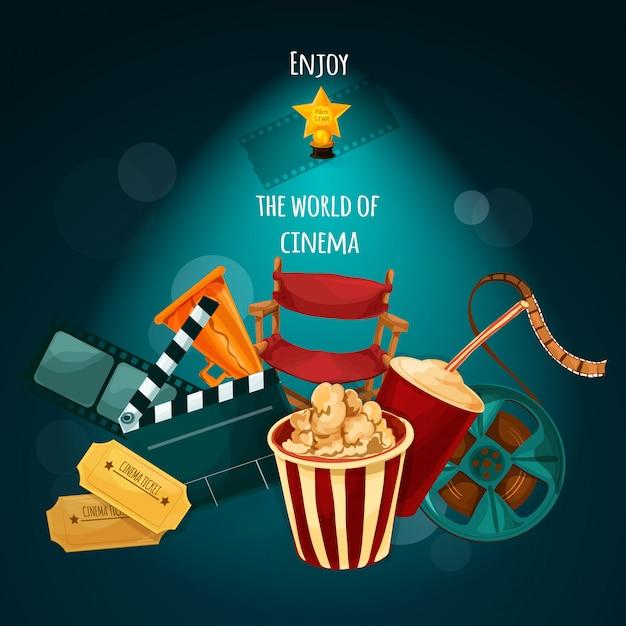 Kino-hintergrund-illustration Kostenlosen Vektoren
