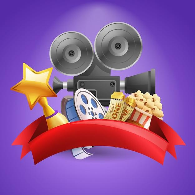 Kino hintergrund illustration Kostenlosen Vektoren