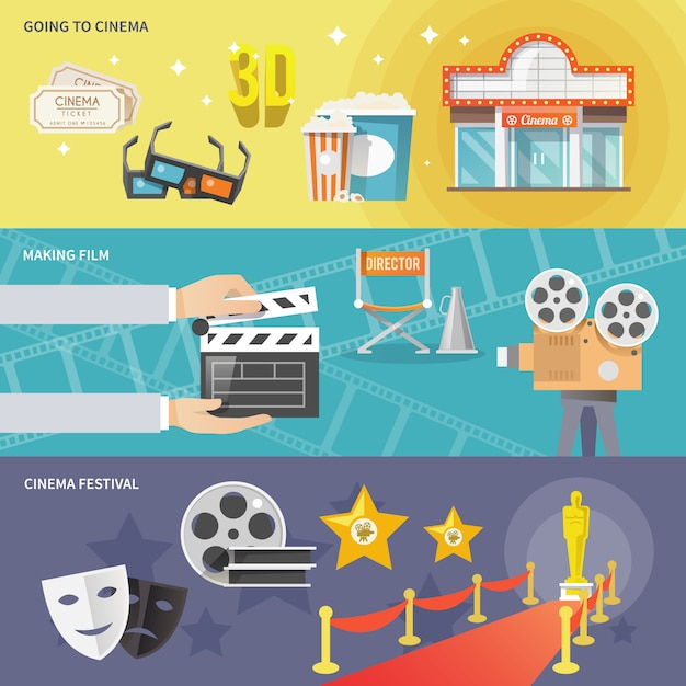 Kino horizontale banner gesetzt Kostenlosen Vektoren