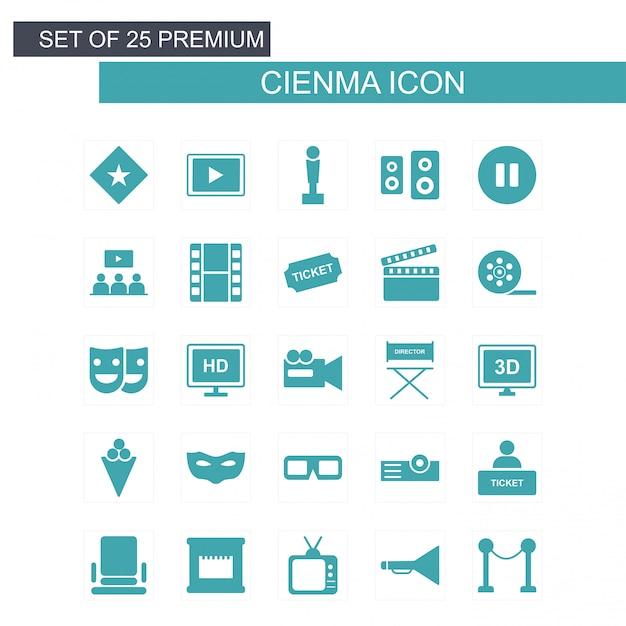 Kino icons set vektor Kostenlosen Vektoren