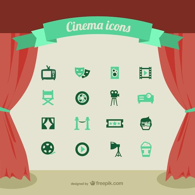 Kino-ikonen eingestellt Kostenlosen Vektoren