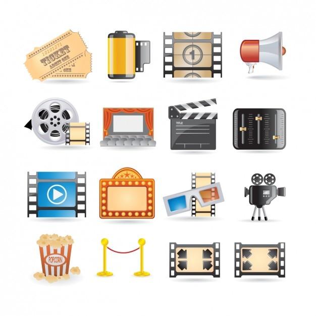 -kino-ikonen-sammlung Kostenlosen Vektoren