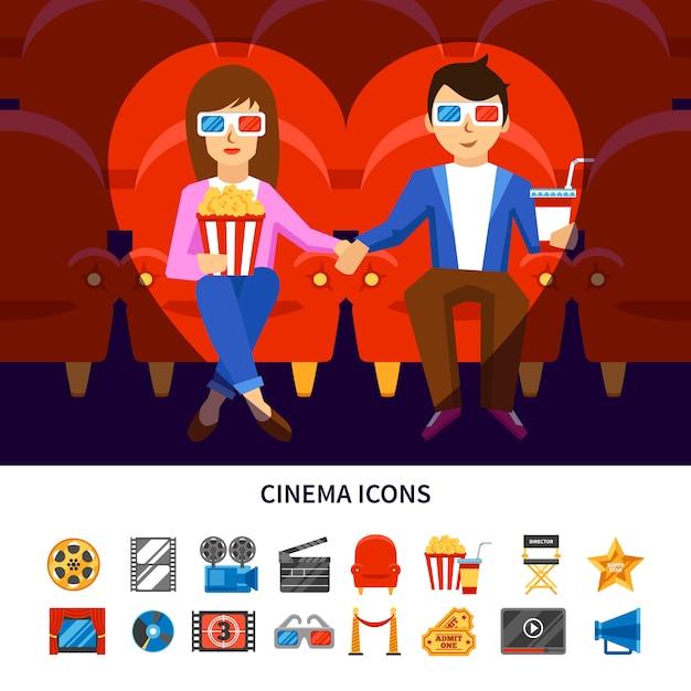 Kino-infografik-set Kostenlosen Vektoren