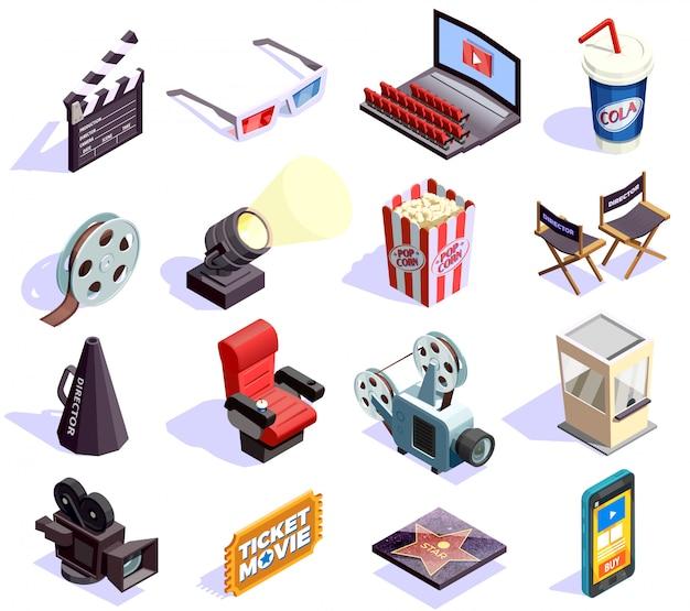 Kino-isometrische icons set Kostenlosen Vektoren