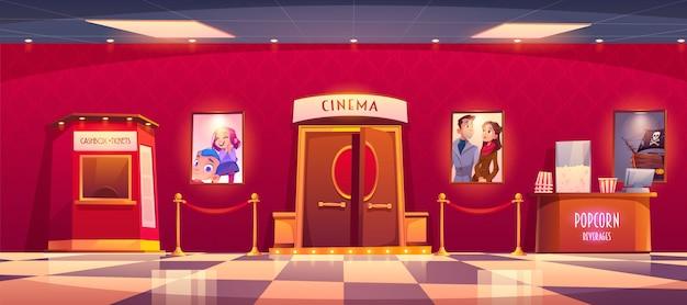 Kino mit geldkassette und theke mit popcorn Kostenlosen Vektoren