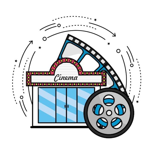 Kino mit rollenszene zum filmstreifen Premium Vektoren