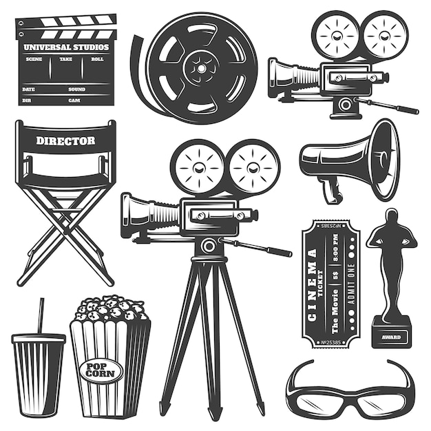 Kino monochrome elemente set Kostenlosen Vektoren