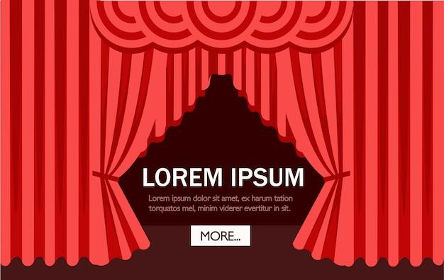Kino- oder theaterszene mit rotem vorhang. illustration. website-seite und mobile app. platz für text Premium Vektoren