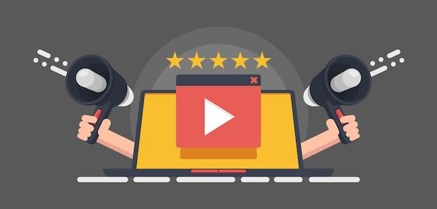 Kino-reputation, video-rating-banner, play-taste auf rotem hintergrund Premium Vektoren