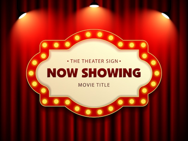 Kino-theater-retro- zeichen auf vorhang mit scheinwerfer Premium Vektoren
