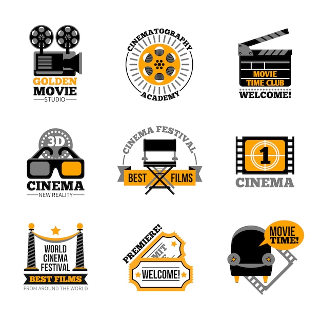 Kino- und filmetiketten Kostenlosen Vektoren