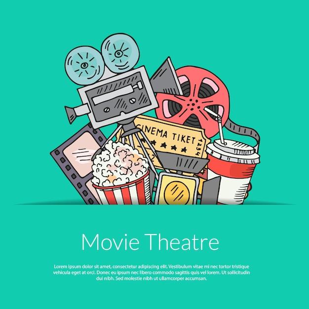 Kinodekoration auf grün Premium Vektoren