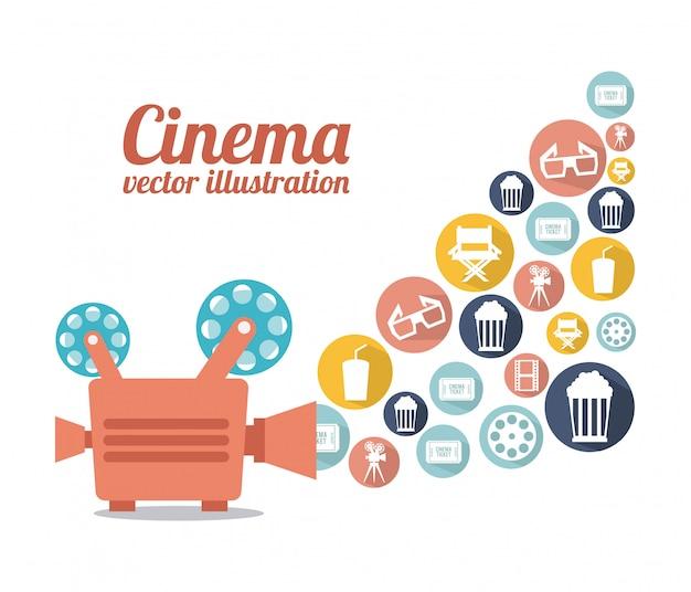 Kinodesign über weißer hintergrundvektorillustration Premium Vektoren