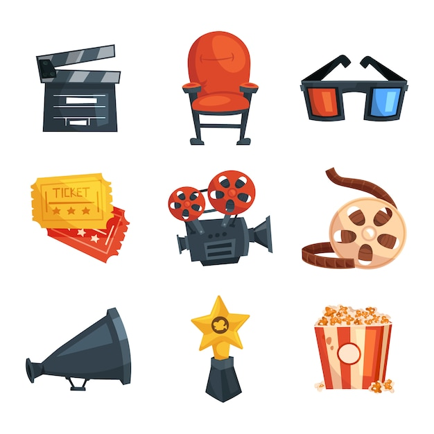 Kinoelemente eingestellt. multimedia- und fotografie-tools Premium Vektoren