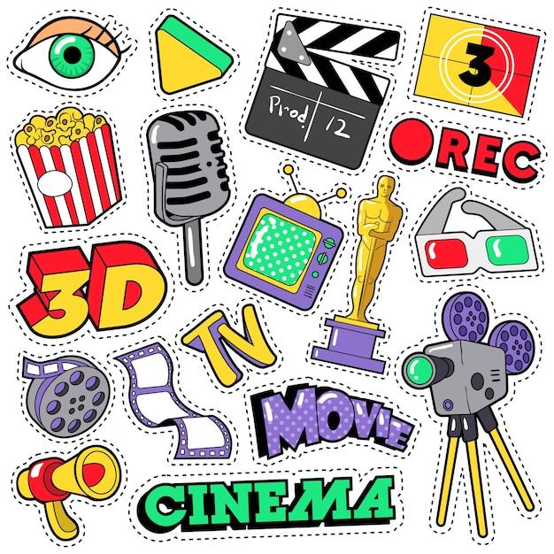 Kinofilm fernsehpatches, abzeichen, aufkleber mit kamera, fernseher, band. gekritzel im comic-stil Premium Vektoren