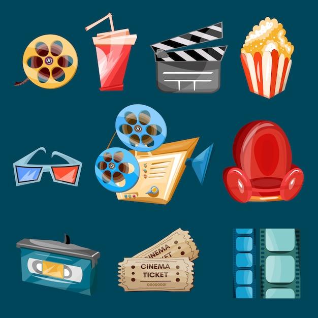 Kinofilmikonen-karikaturvektor Premium Vektoren
