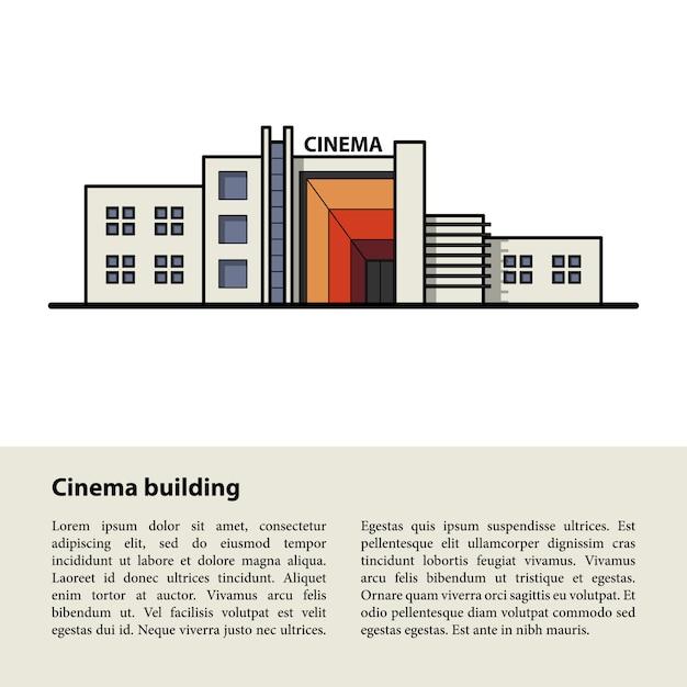 Kinogebäude. vorlage für ihren text am unteren rand Premium Vektoren